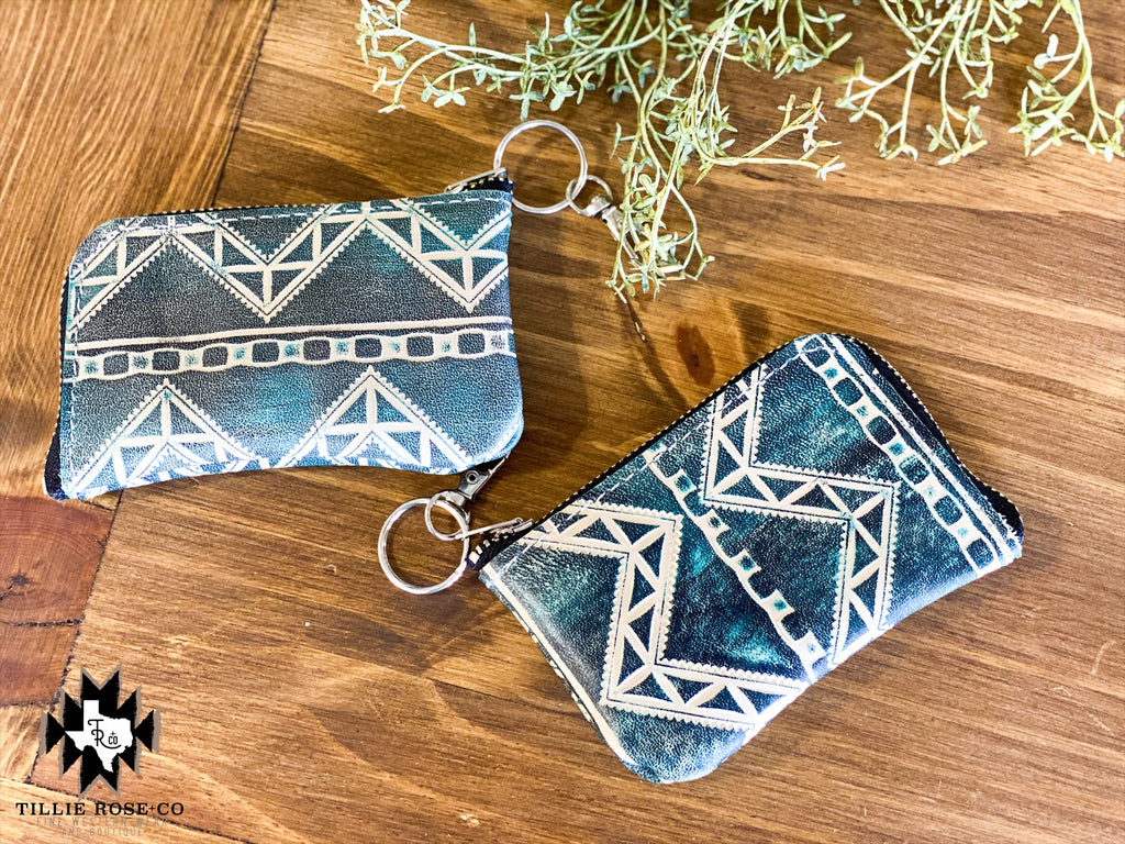 Blue Aztec Coin Purse - The Tillie Rose Boutique
