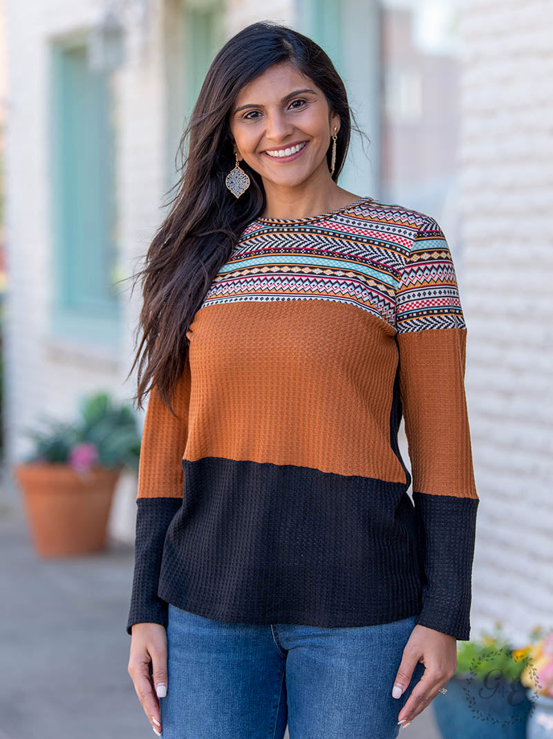 Aztec Waffle Knit Top - The Tillie Rose Boutique