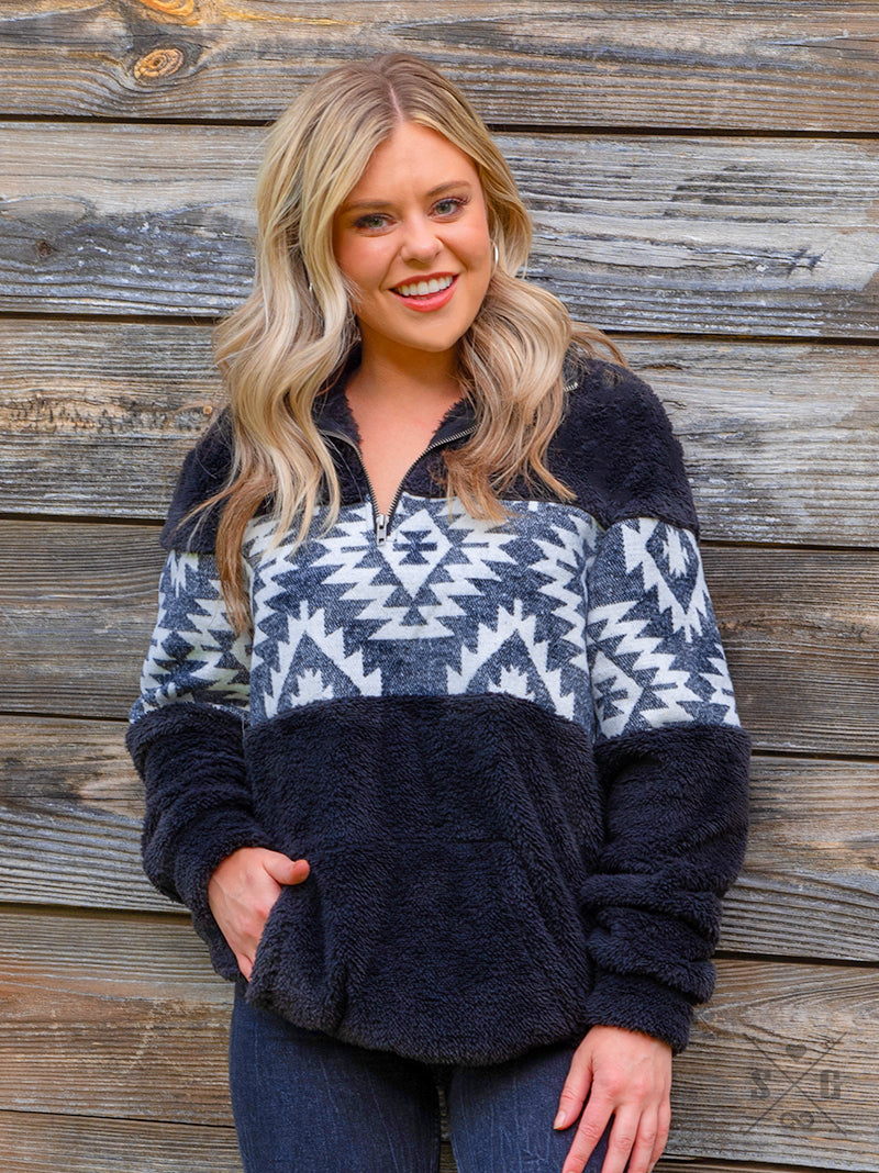 Navajo Nights Sherpa Pullover - The Tillie Rose Boutique