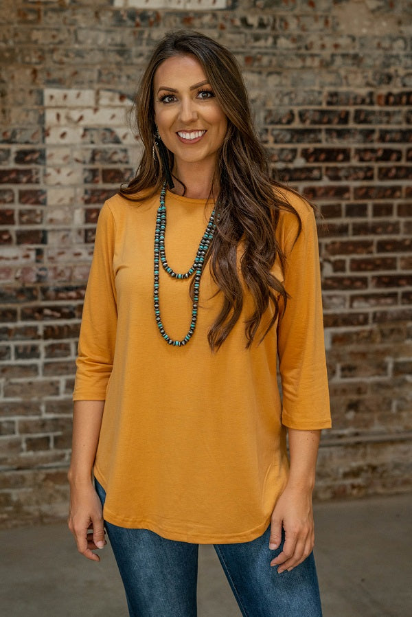 Mustard 3/4 Sleeve Top - The Tillie Rose Boutique