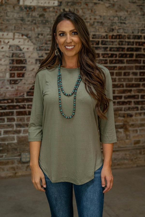 Sage 3/4 Sleeve Top - The Tillie Rose Boutique