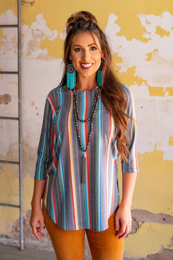 Serape Scoop Neck 3/4 Sleeve Top - The Tillie Rose Boutique