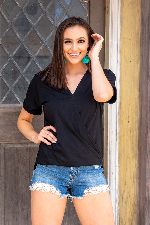 "Black ""Wrap"" Top - The Tillie Rose Boutique"