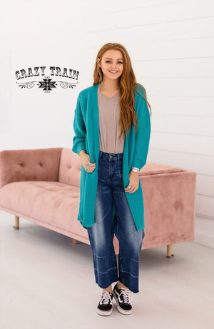 Teal Chunky Cardigan - The Tillie Rose Boutique