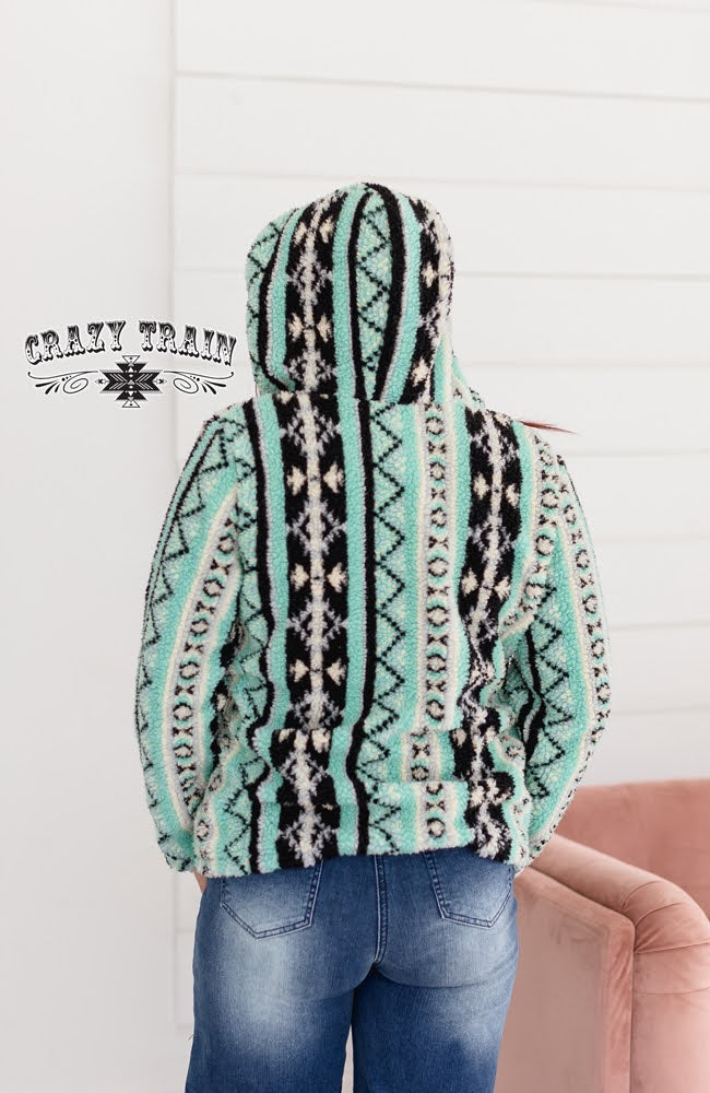 Mint Aztec Sherpa Hoodie - The Tillie Rose Boutique