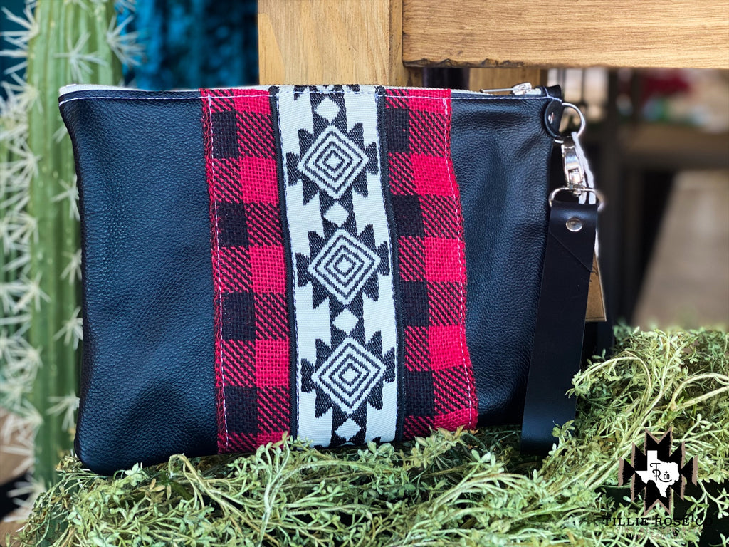Aztec Plaid Clutch/Wristlet - The Tillie Rose Boutique