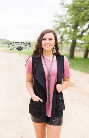 Black Utility Vest - The Tillie Rose Boutique