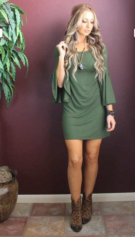 L&B Olive Green Tunic Dress - The Tillie Rose Boutique