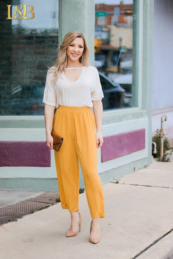 Mustard Crop Pants - The Tillie Rose Boutique