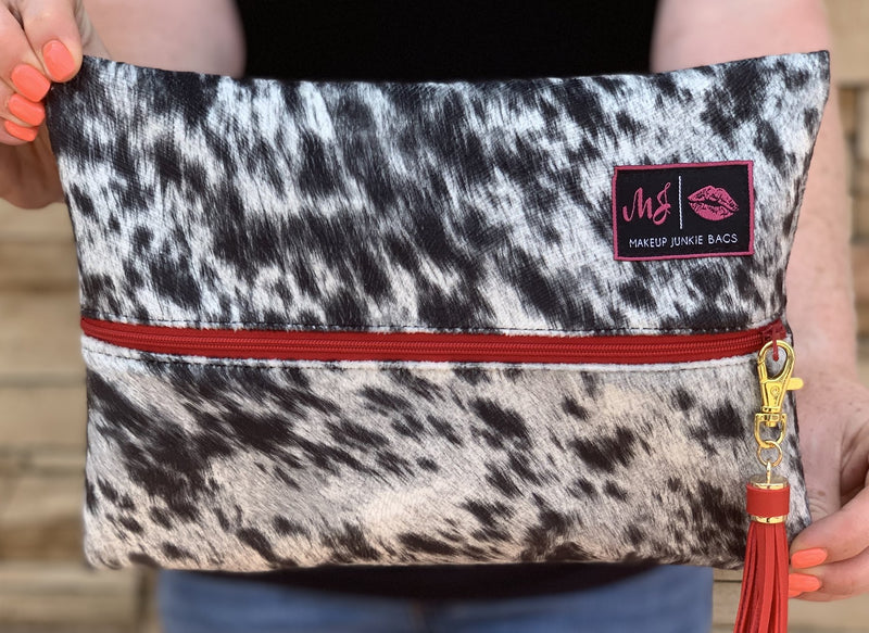LIMITED EDITION: Lola Onyx RED ZIPPER Makeup Junkie Bag - The Tillie Rose Boutique