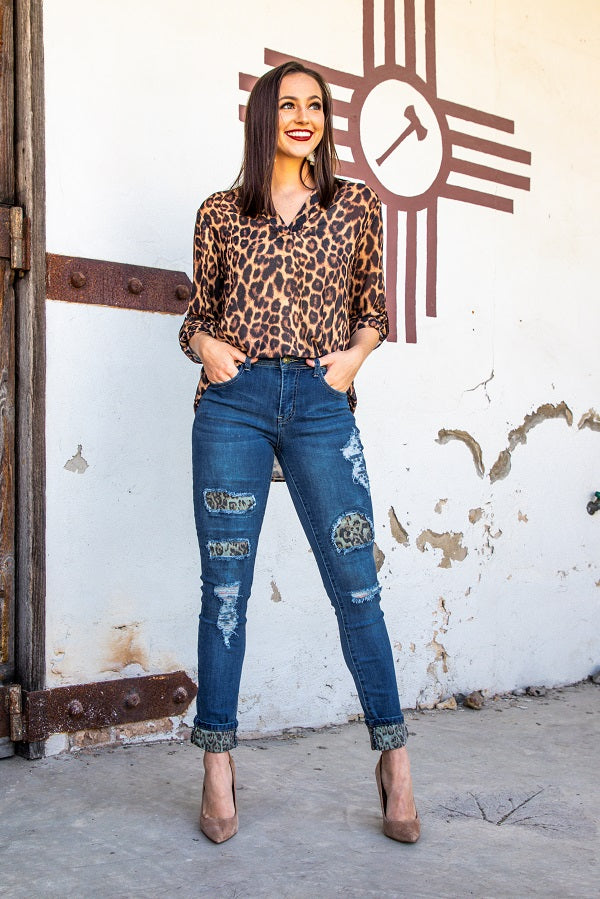 Distressed Leopard Patch Jeans - The Tillie Rose Boutique