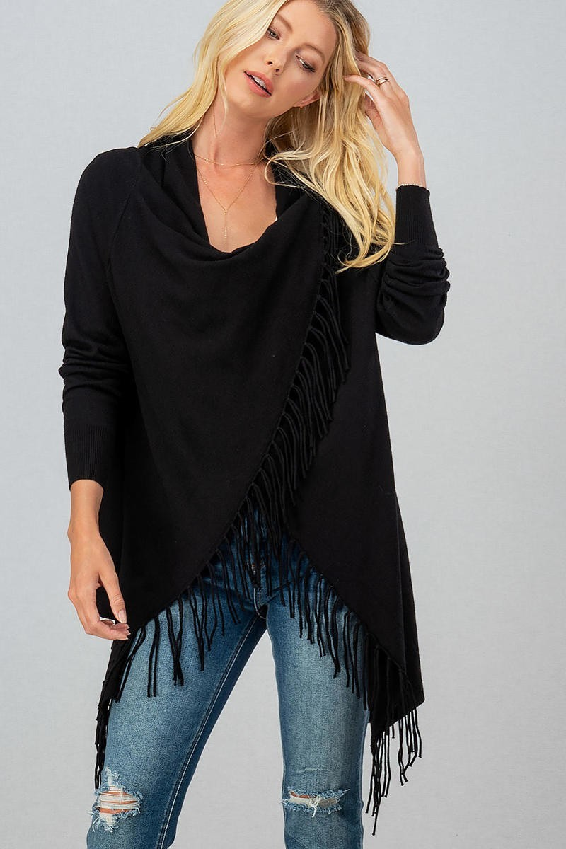 Cross Button Fringe Cardigan/Sweater - The Tillie Rose Boutique