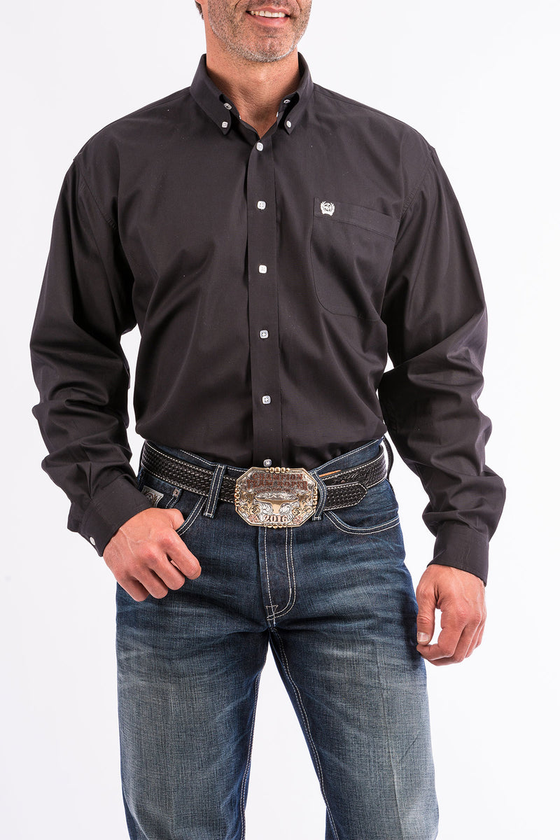 CINCH Men's Solid Black Button Down - The Tillie Rose Boutique