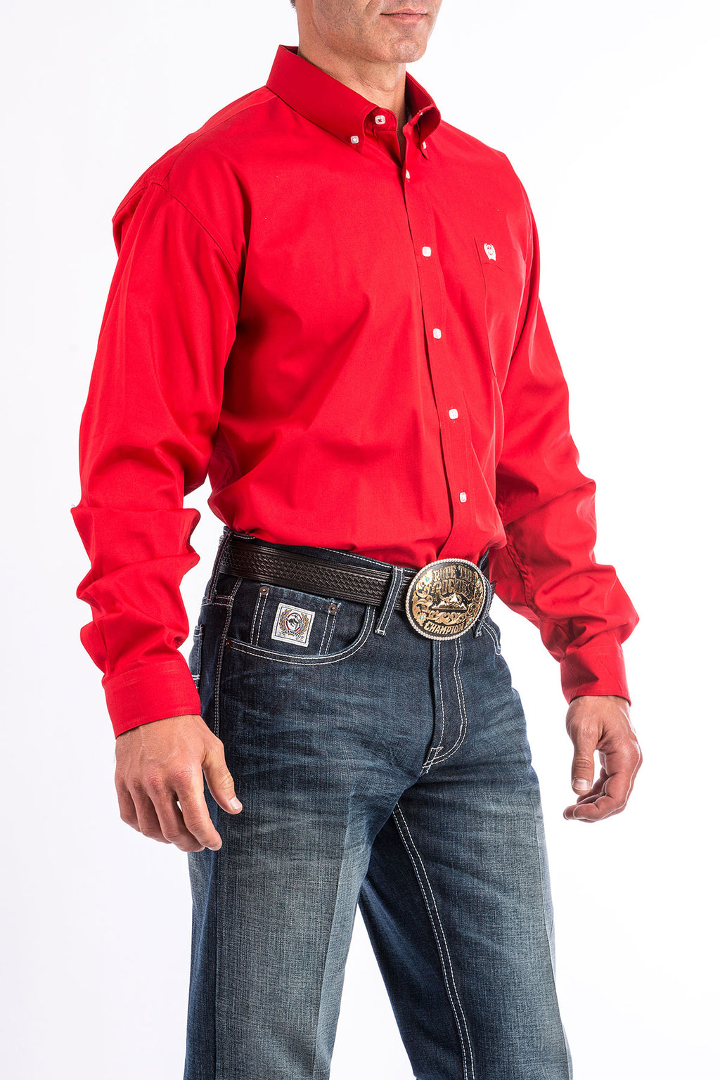 CINCH Men's Solid Red Button Down - The Tillie Rose Boutique