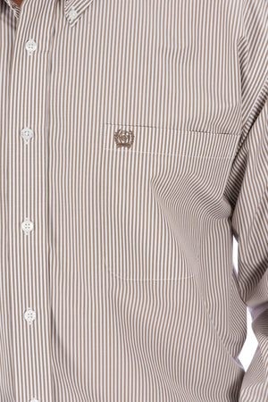 CINCH Men's Tencel Khaki Stripe Button Down - The Tillie Rose Boutique
