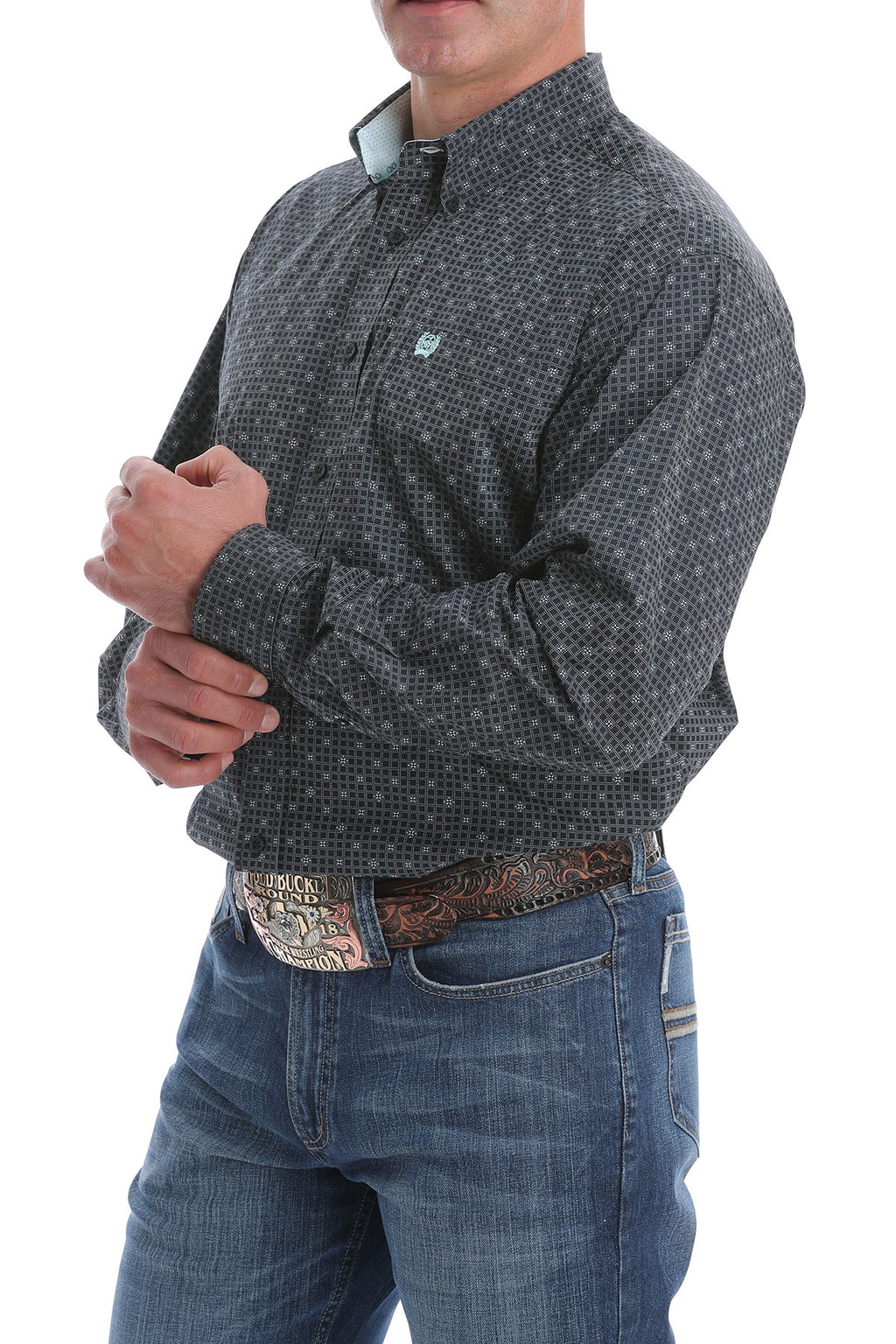 CINCH Men's Dark Navy Pattern Button Down - The Tillie Rose Boutique