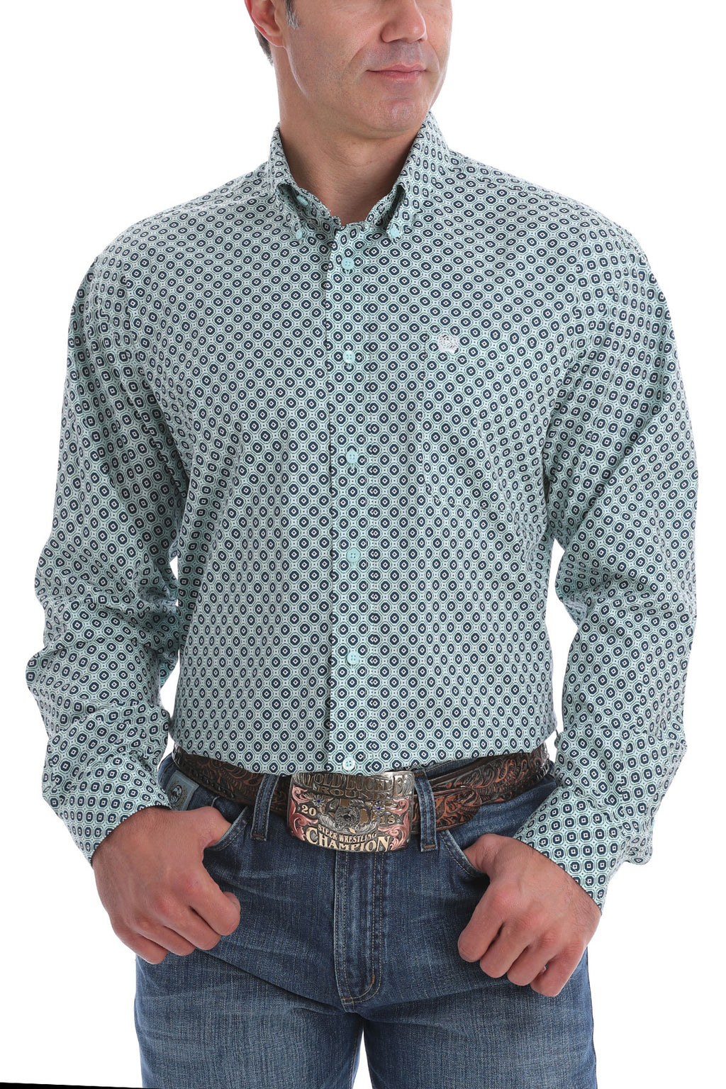 CINCH Men's Light Blue and Navy Medallion Pattern Button Down - The Tillie Rose Boutique