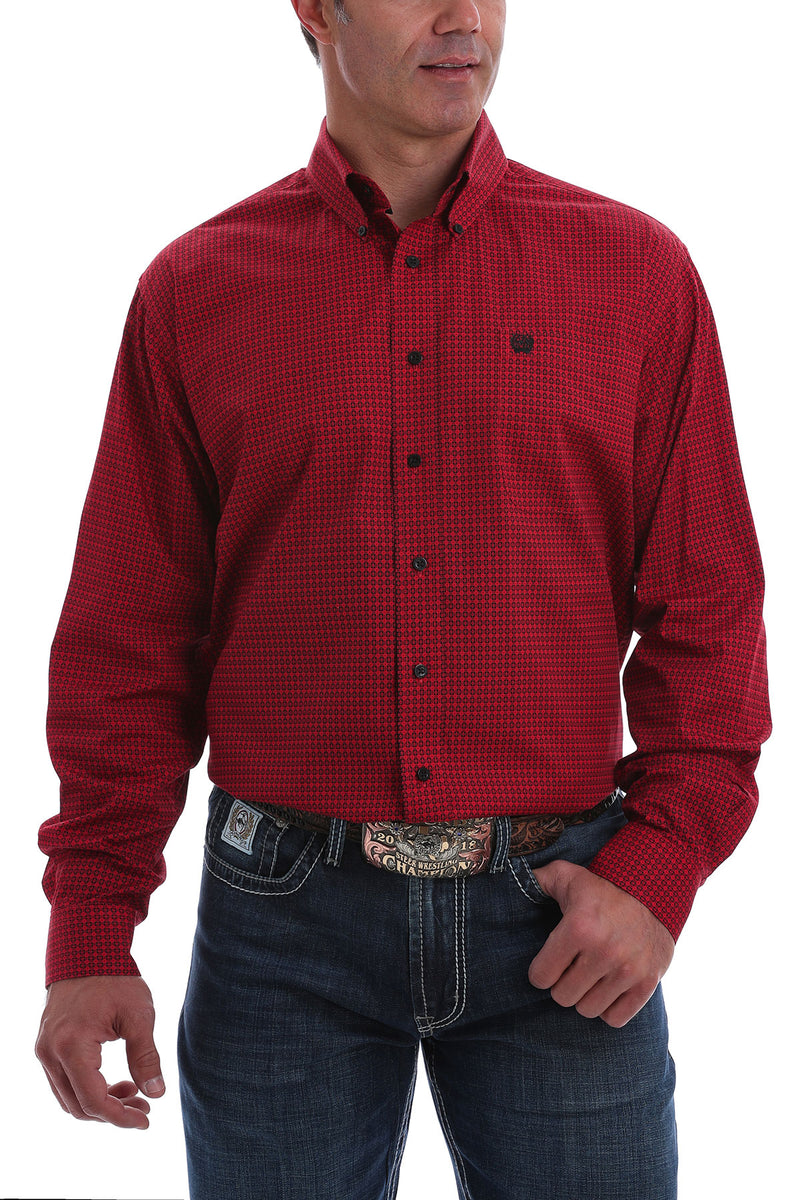 CINCH Red and Black Pattern Button Down - The Tillie Rose Boutique
