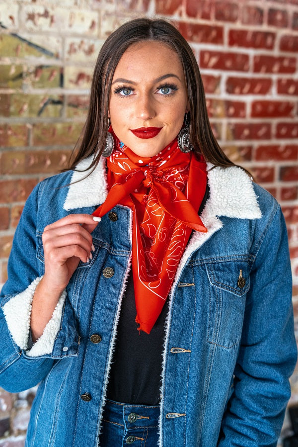 Red Turquoise Wild Rag - The Tillie Rose Boutique