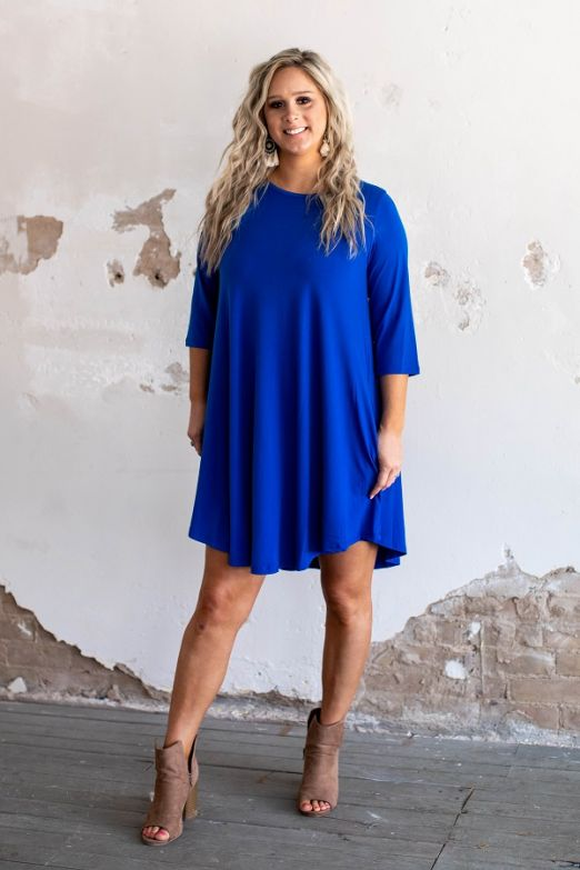 The Betty Blue Dress - 3/4 Sleeve