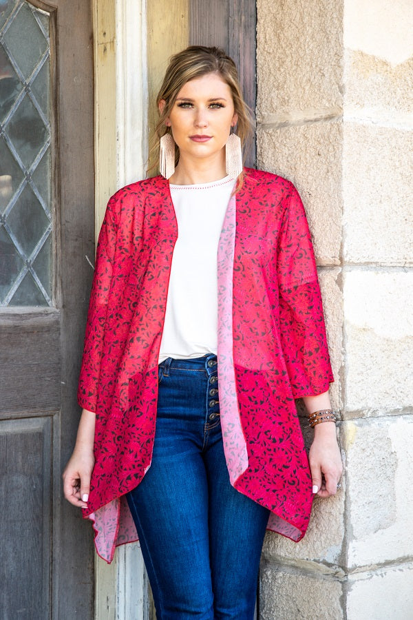 Wreck Em Red Tooled Kimono - The Tillie Rose Boutique