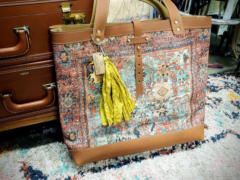 Leather Rug Tote - The Tillie Rose Boutique