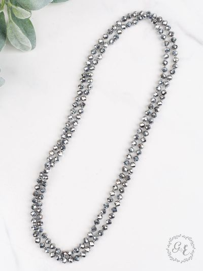 "60"" Graphite Beaded Necklace"
