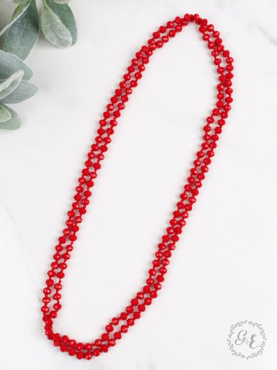 "60"" Red Beaded Necklace"