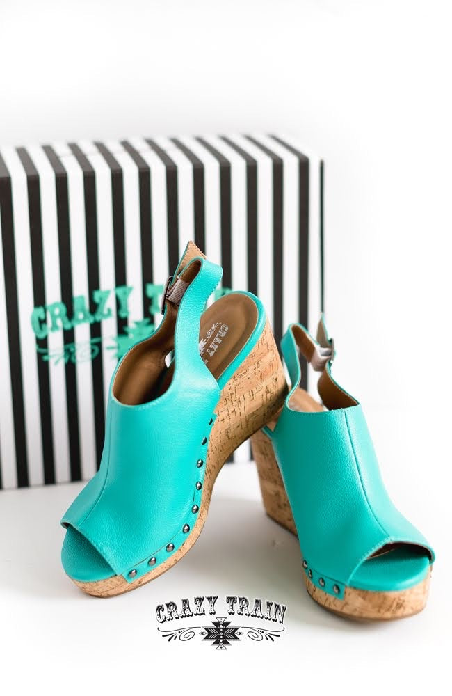 Turquoise Showdown Wedge - The Tillie Rose Boutique