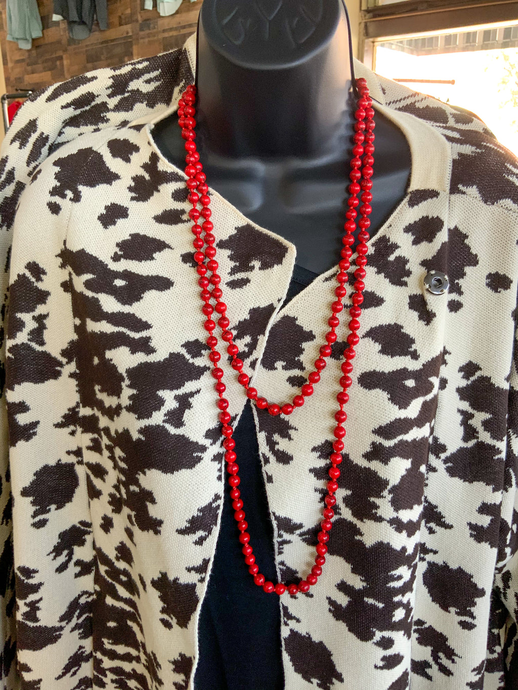 Long Red Bead Necklace - The Tillie Rose Boutique