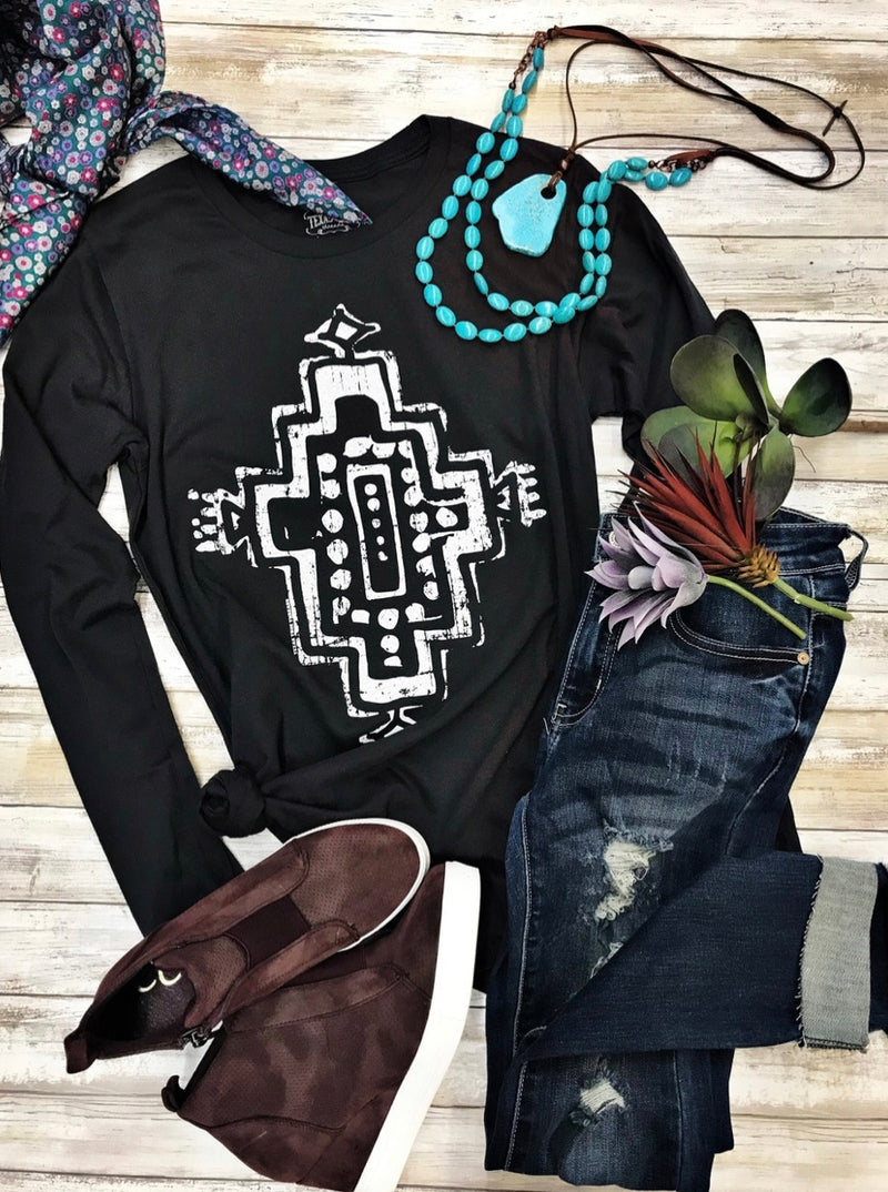 Aztec Long Sleeve Tee - The Tillie Rose Boutique