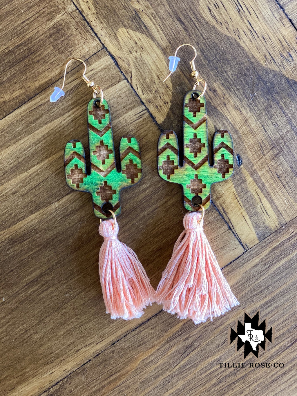 Green and Blush Cactus Aztec Tassel Earrings - The Tillie Rose Boutique