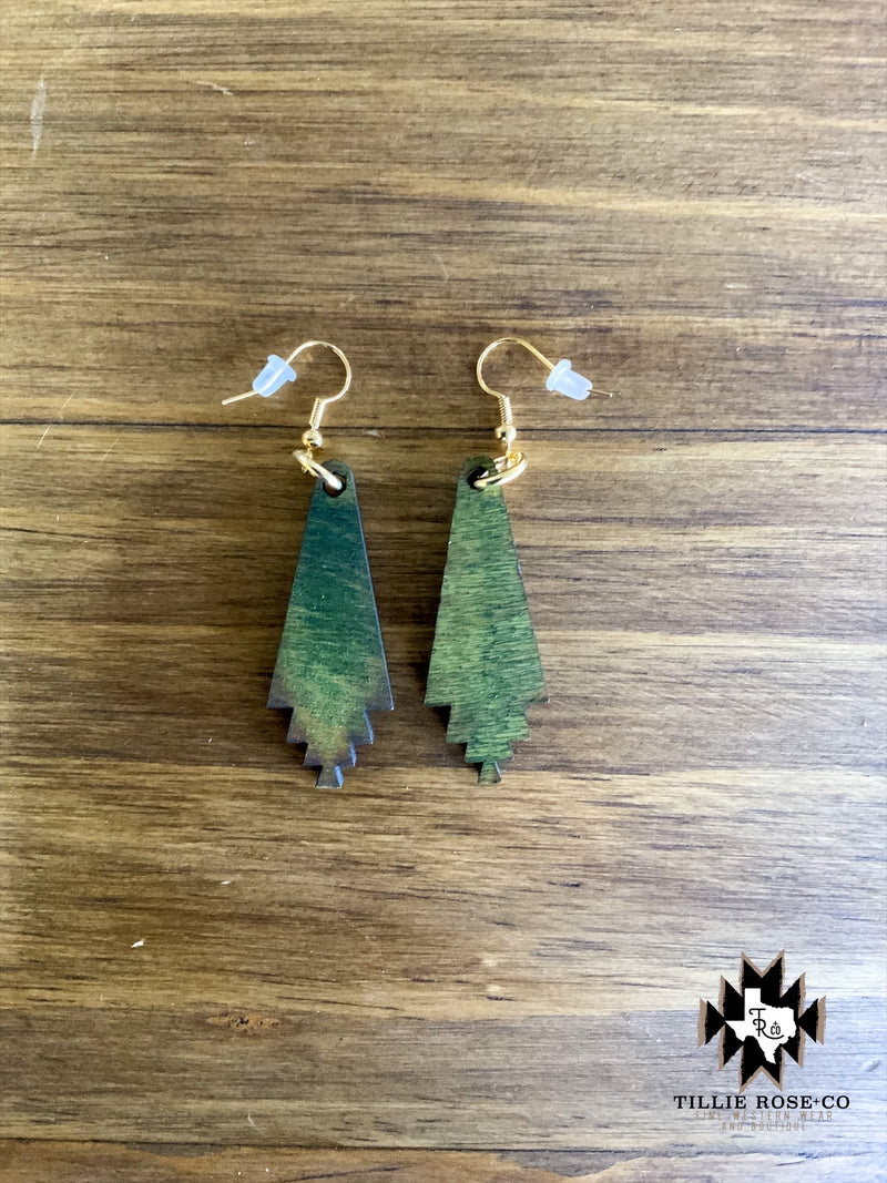Small Green Santa Fe Drop Wood Earrings