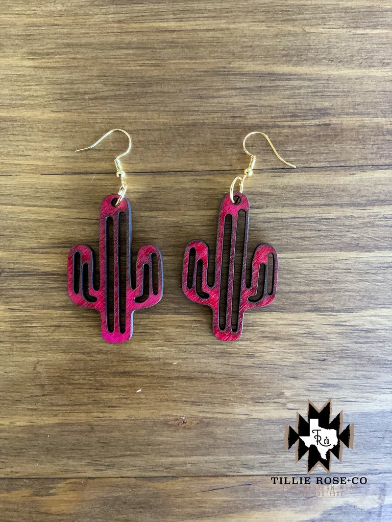 Pink Cactus Wood Earrings