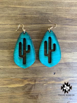 Turquoise Teardrop Cactus Wood Earrings - The Tillie Rose Boutique