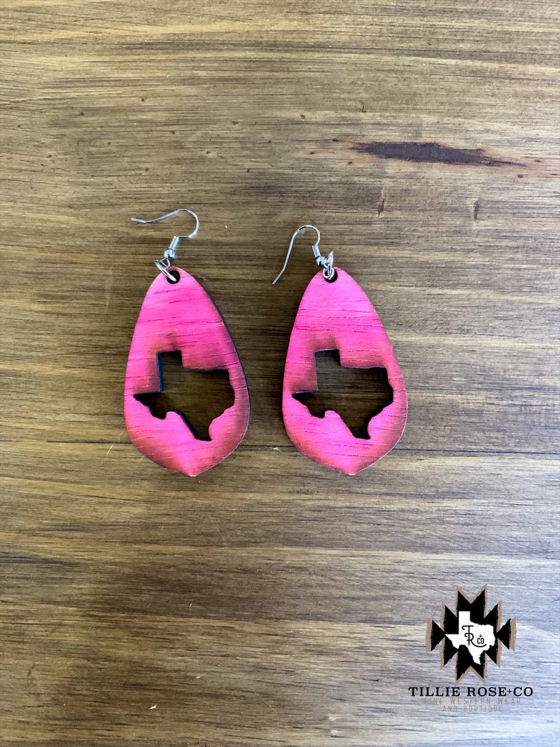 Pink Teardrop Texas Wood Earrings