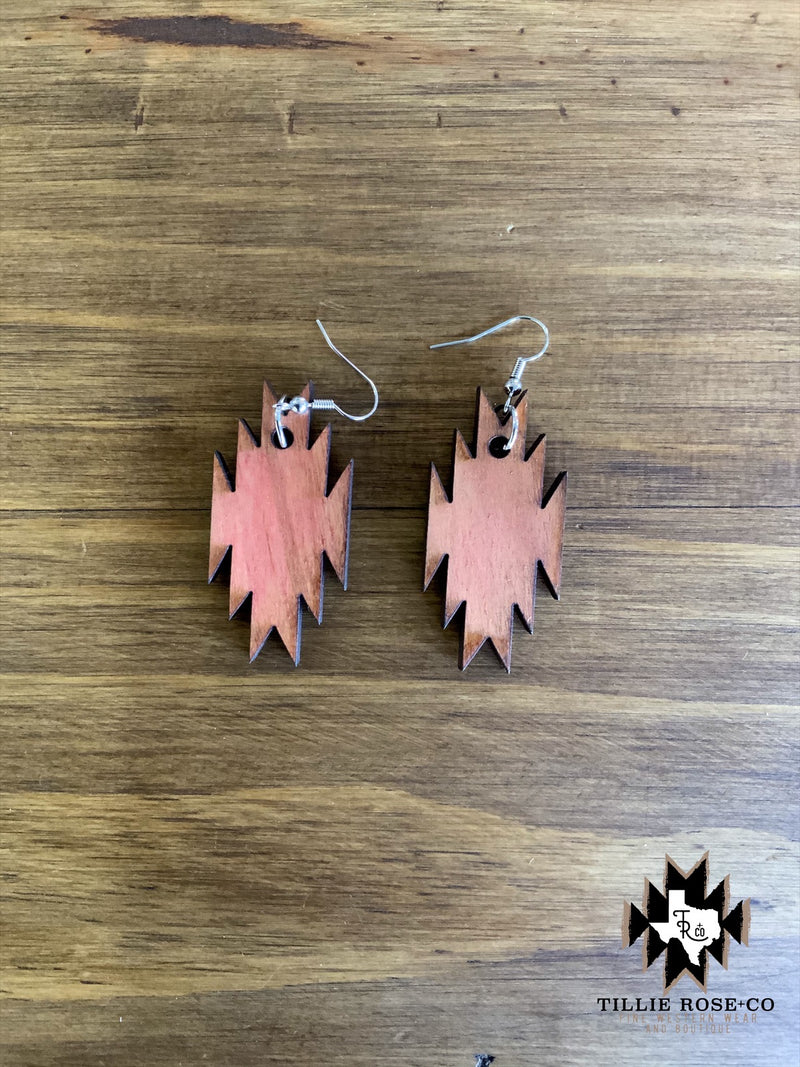 Small Aztec Wood Earrings