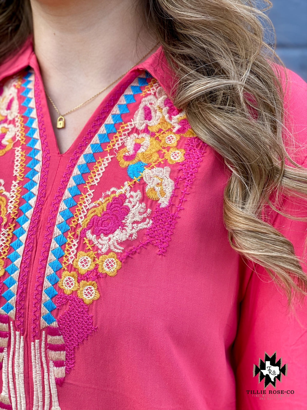 Coral Embroidery Top