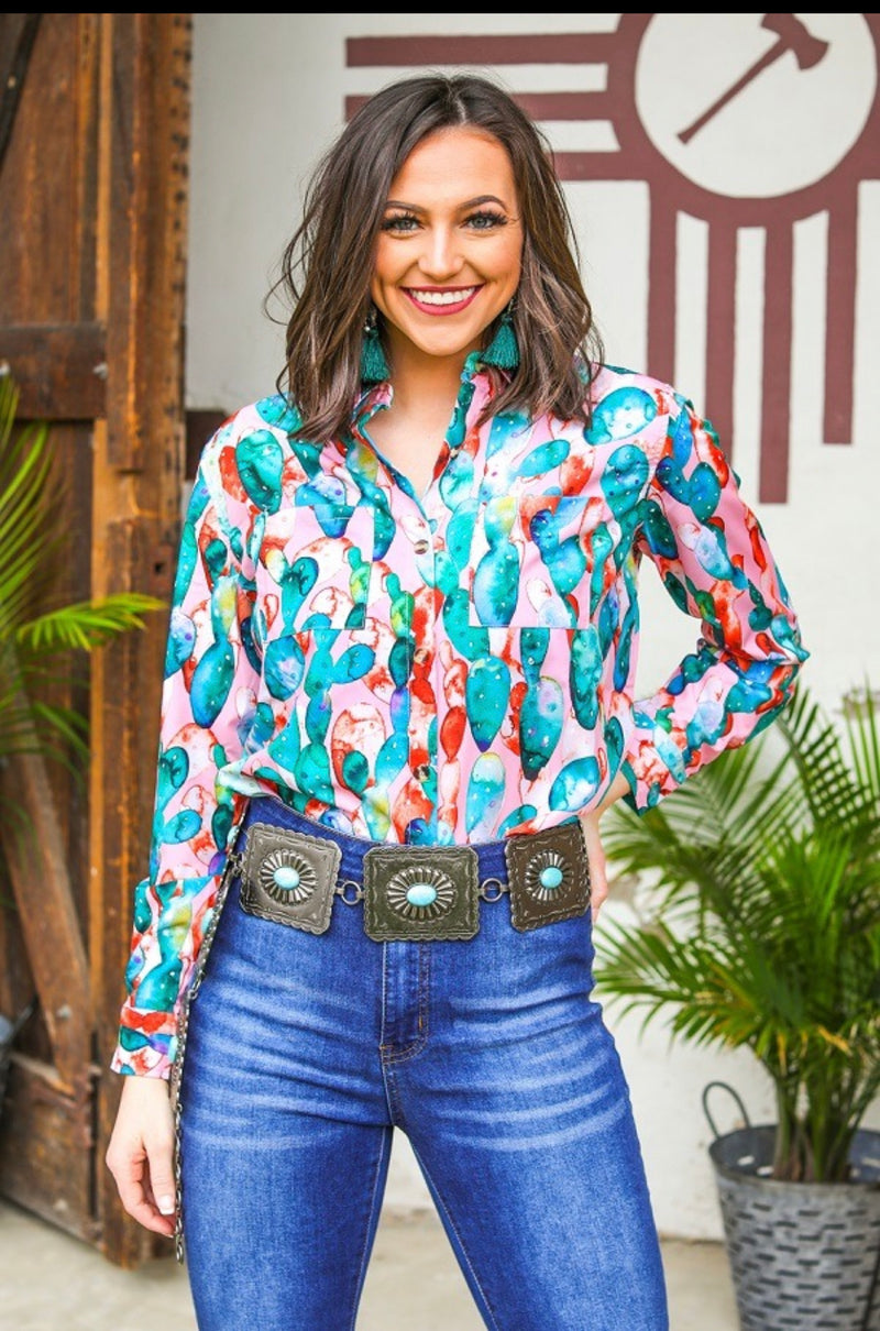 Watercolor Cactus Button-Up - The Tillie Rose Boutique