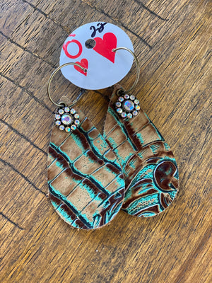 Turquoise Tooled Leather Earrings - The Tillie Rose Boutique