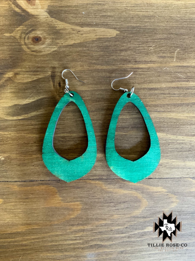 Green Teardrop Wood Earrings