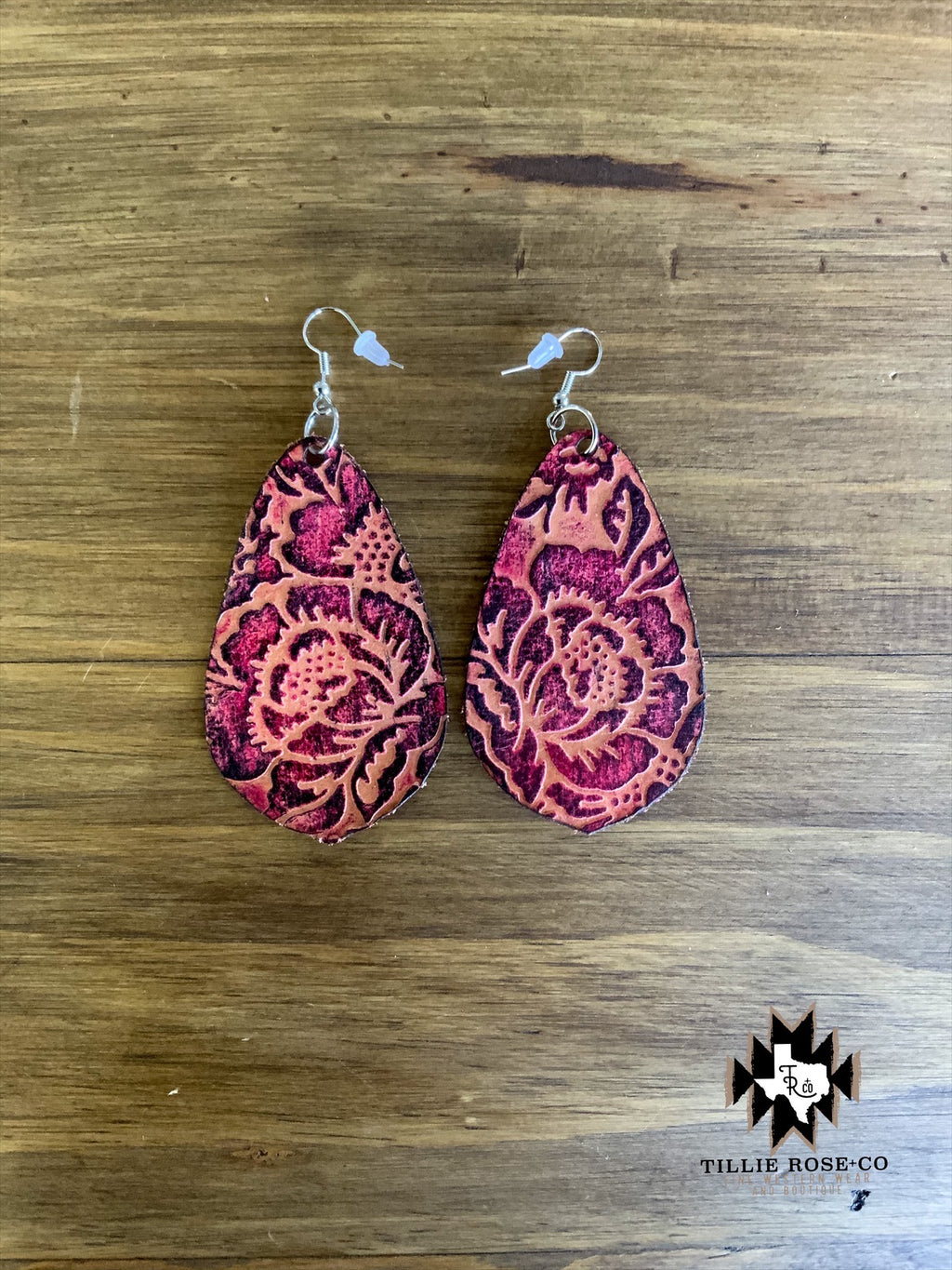 Pink Leather Floral Earrings - The Tillie Rose Boutique