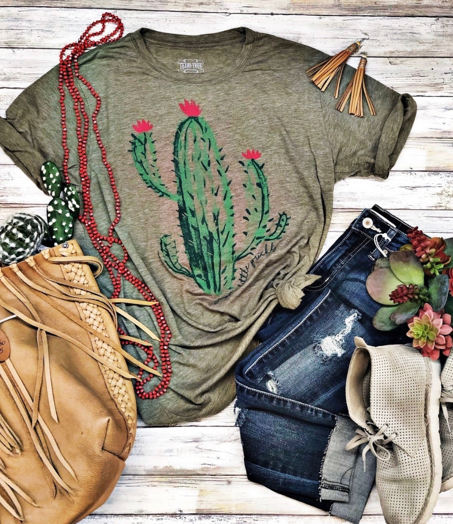 "Sage Cactus ""Just a Little Prickly"" Tee - The Tillie Rose Boutique"