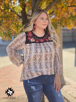 Embroidered Snakeskin Long Sleeve - The Tillie Rose Boutique