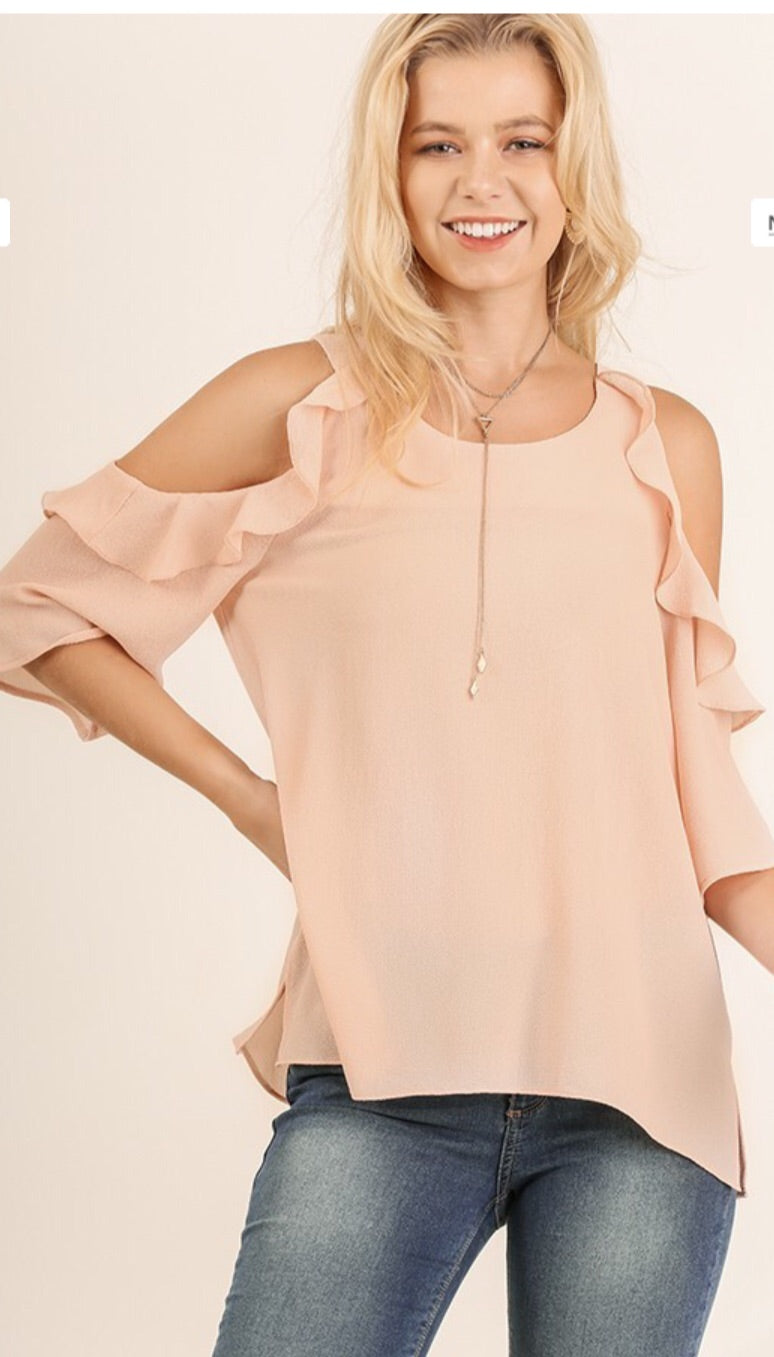 Ruffled Cold Shoulder Top --Blush - The Tillie Rose Boutique
