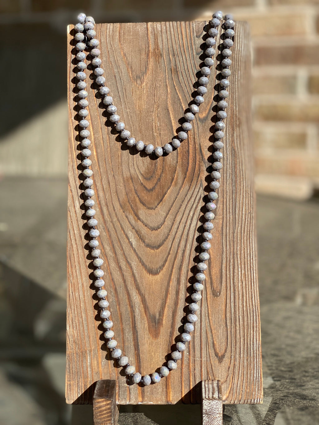 "30"" Gray Blue Shimmer Bead Necklace - The Tillie Rose Boutique"