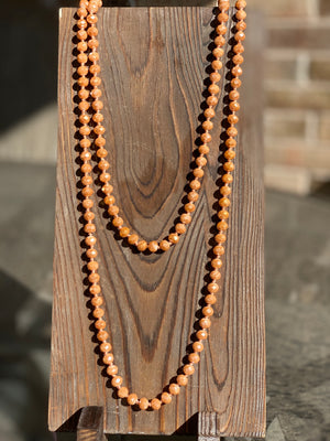 "30"" Peach Apricot Shimmer Bead Necklace - The Tillie Rose Boutique"