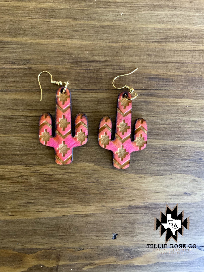 Pink Aztec Cactus Wood Earrings - The Tillie Rose Boutique