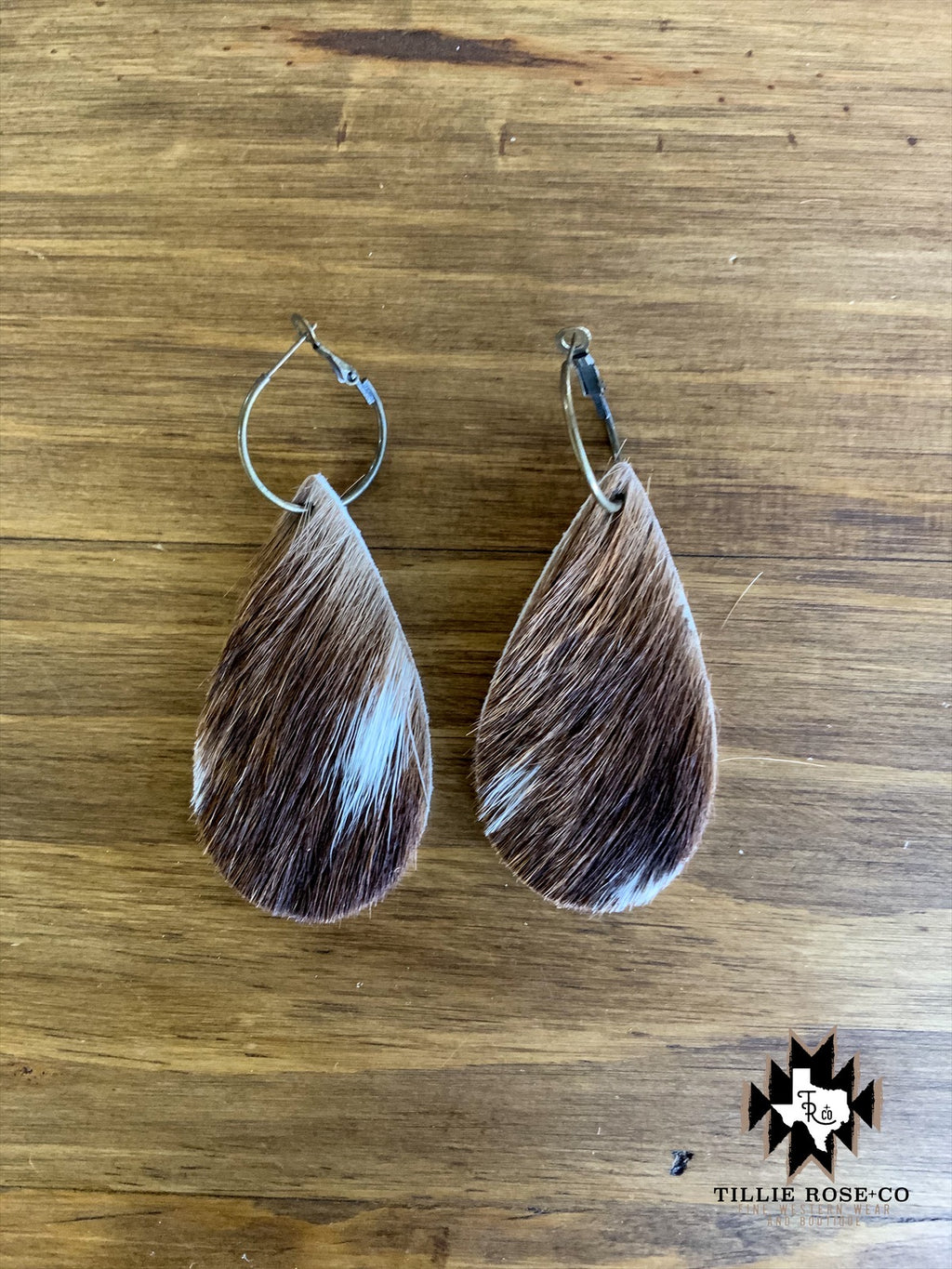 Brown Hide Leather Teardrop Earrings - The Tillie Rose Boutique
