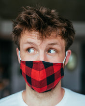 Load image into Gallery viewer, POOK MASK ( Red/Black Plaid)